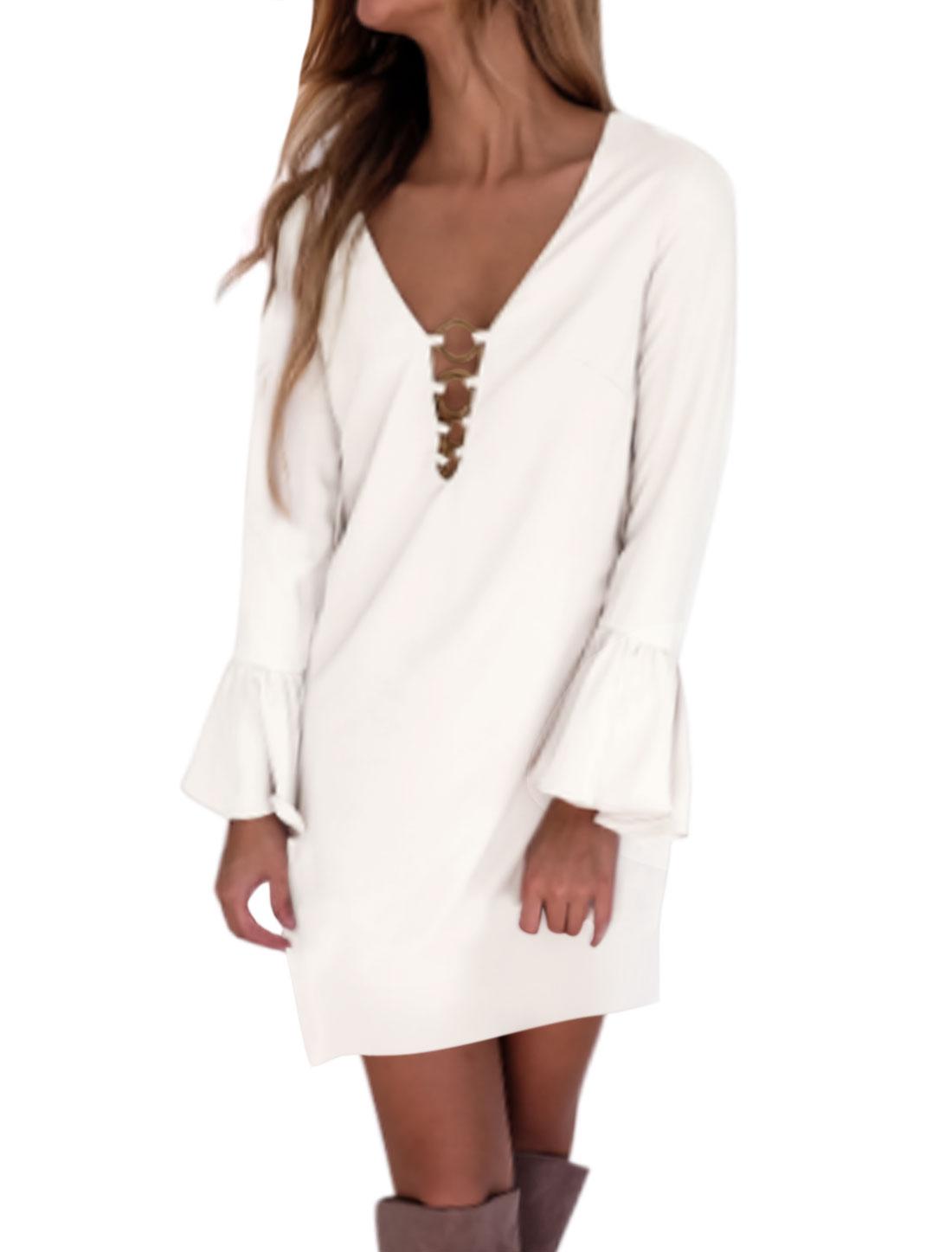 Women Brass Rings Long Bell Sleeve Deep V Neck Shift Dress White M
