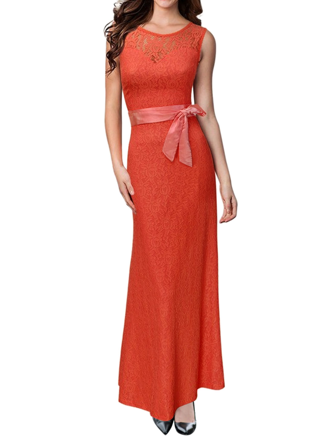 Women Sleeveless Open Back Maxi Lace Dress w Belt Orange XL