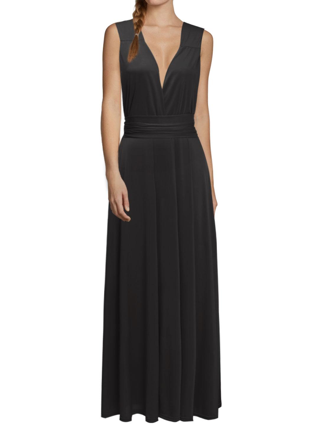 Women Crossover V Neck Self-Tie Multi-Way Wearing Maxi Dress Black S