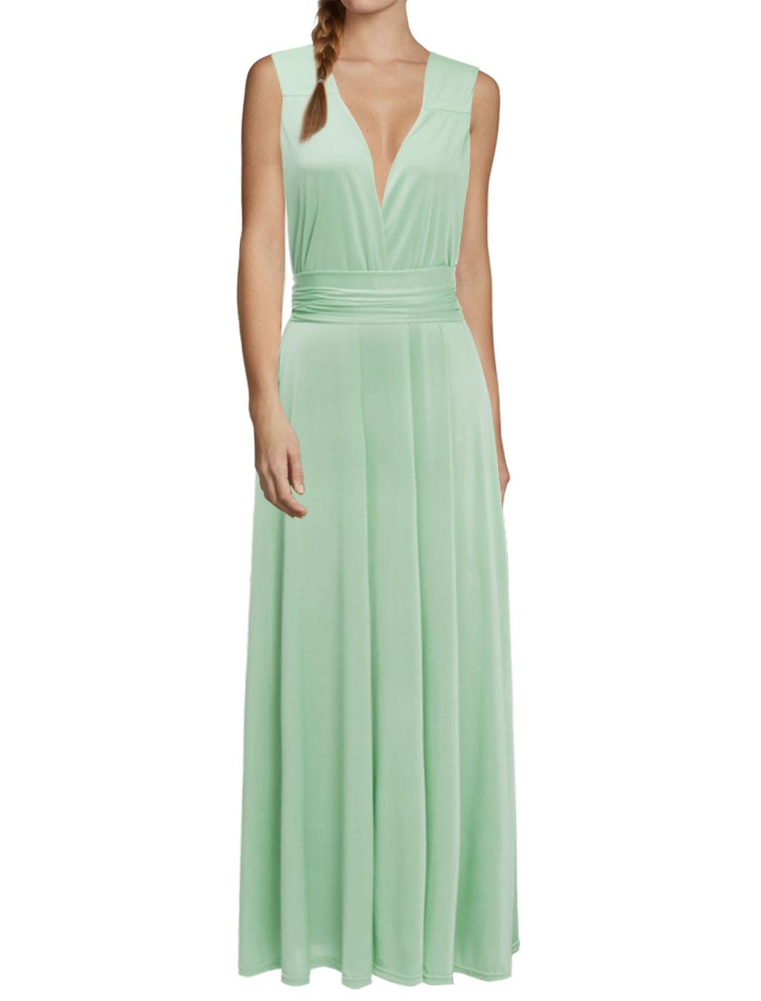 Women Crossover V Neck Self-Tie Multi-Way Wearing Maxi Dress Green S