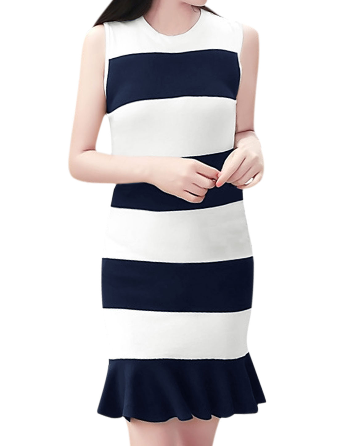 Women Stripes Flouncing Hem Crew Neck Sheath Dress Blue White XS