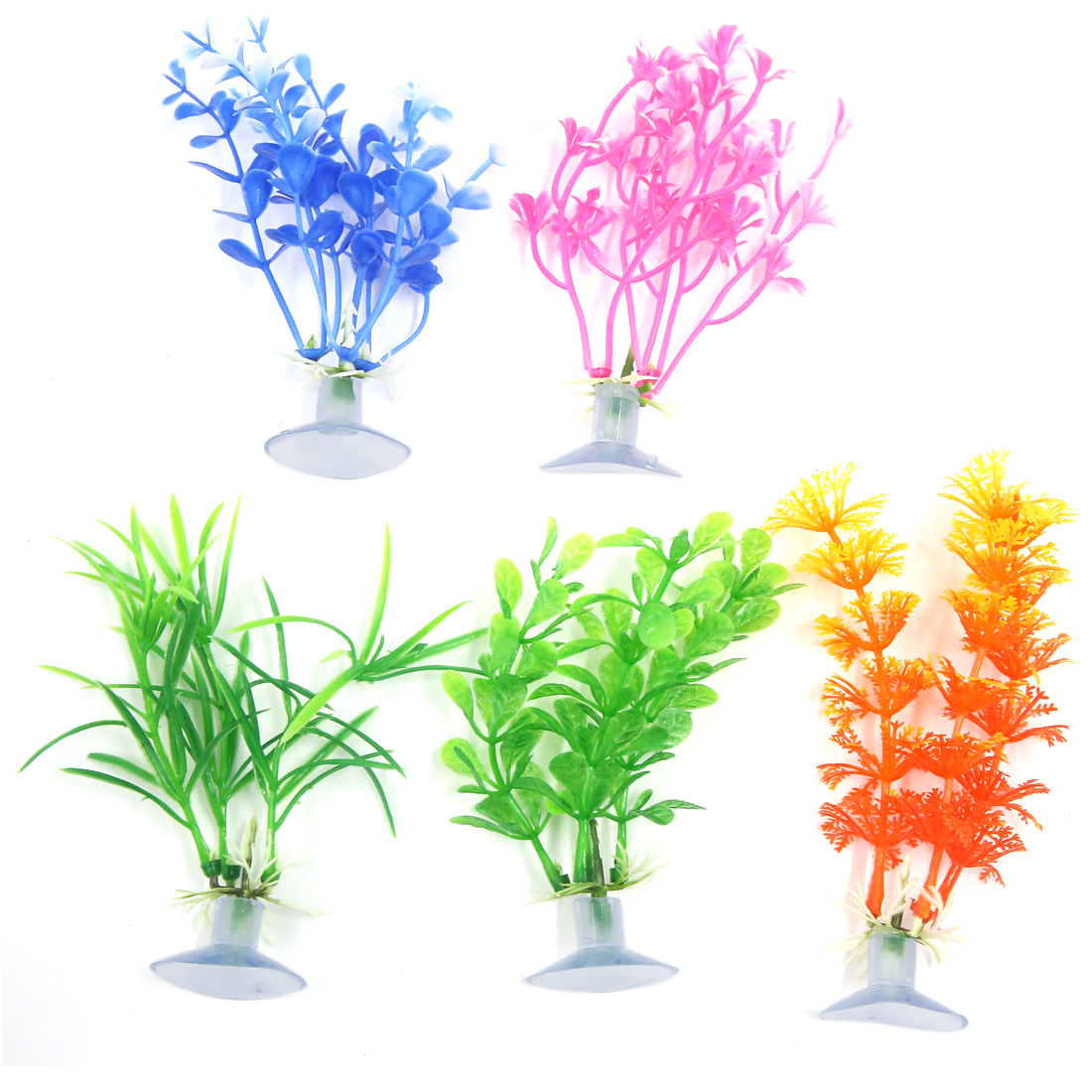 5 Pcs Aquarium Ornament Plastic Decoration Plant With Suction Cup 10cm