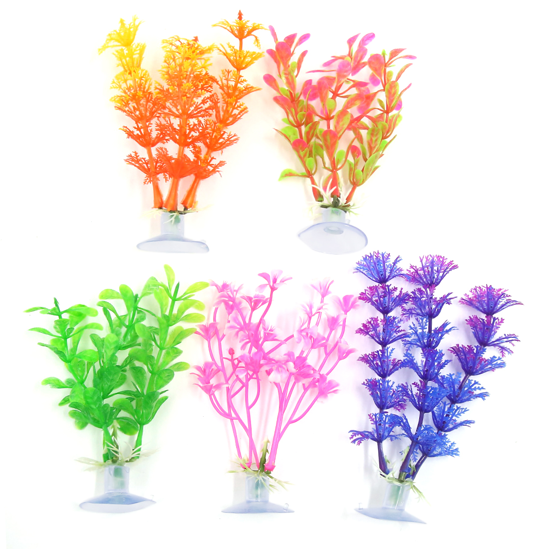 5 Pcs Fish Tank Ornament Plastic Decoration Plant With Suction Cup 10cm