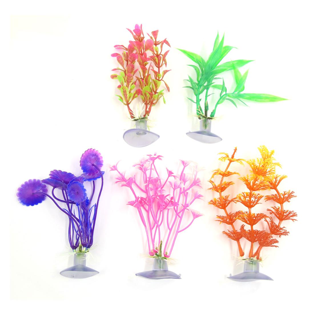 5 Pcs Aquarium Ornament Plastic Decoration Plant With Suction Cup 10cm