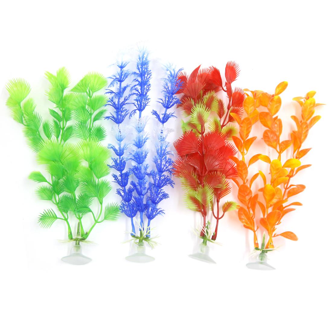 4 Pcs Fish Tank Ornament Plastic Decoration Plant With Suction Cup