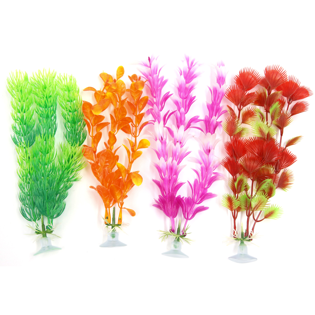 4 Pcs Colorful Aquarium Ornament Plastic Decoration Plant With Suction Cup