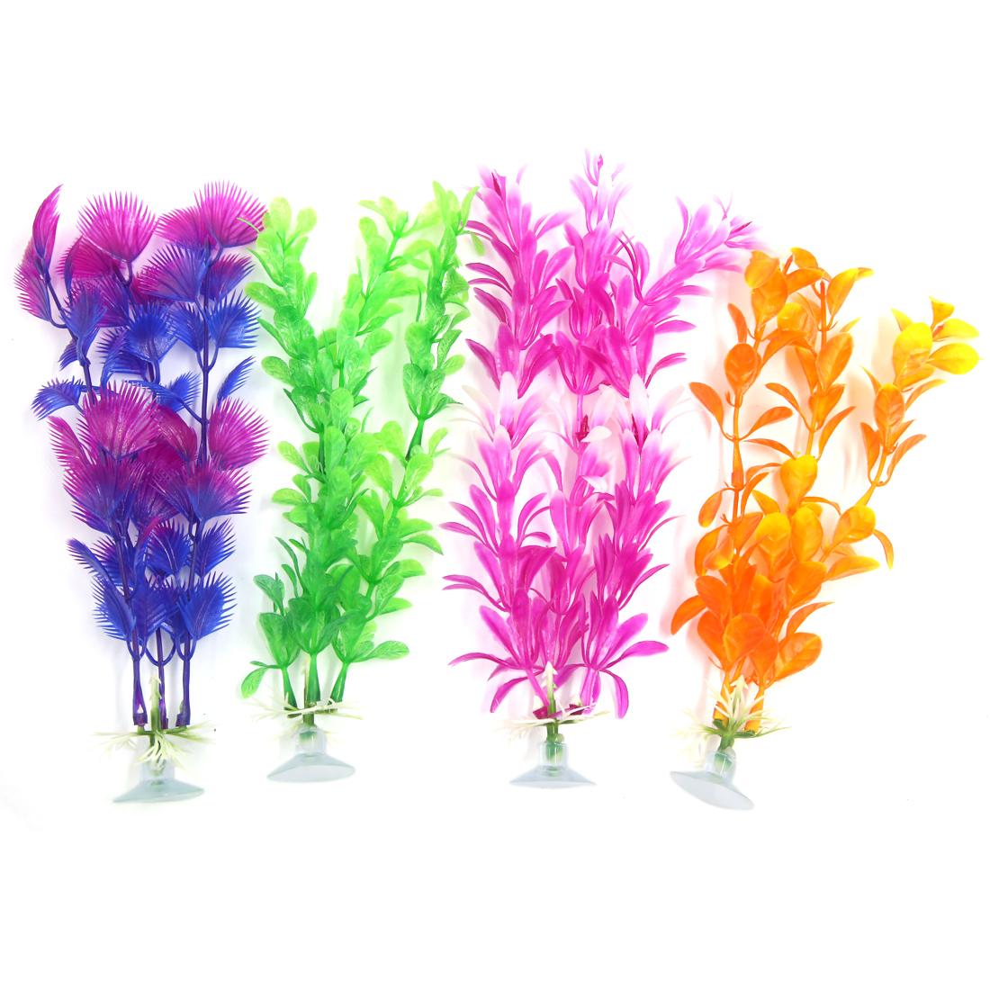 4 Pcs Aquarium Ornament Plastic Decoration Plant With Suction Cup