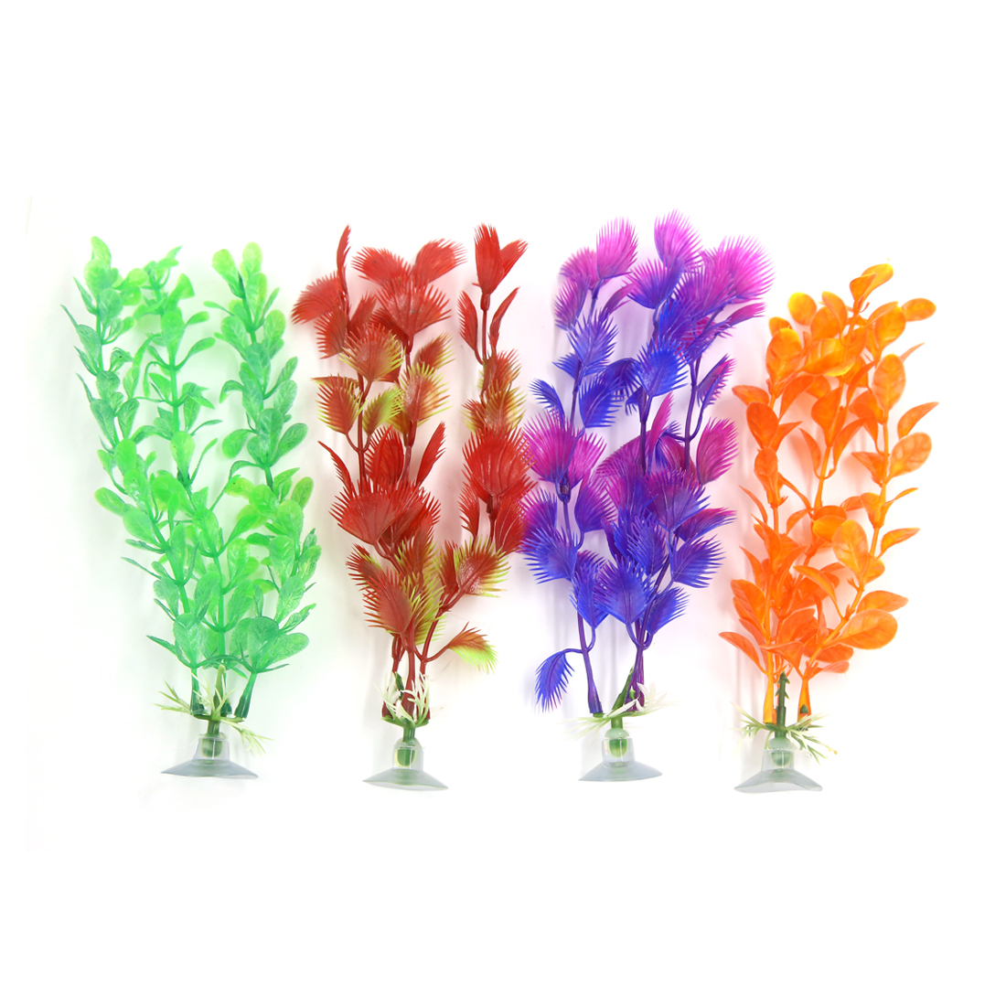 4 Pcs Aqua Ornament Plastic Decoration Plant With Suction Cup