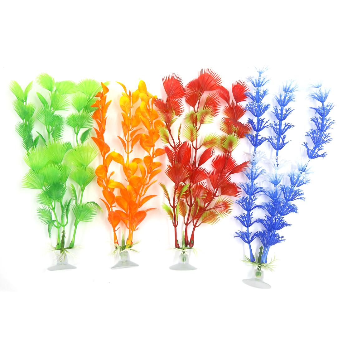 4 Pcs Aqua Fish Tank Ornament Plastic Decoration Plant With Suction Cup