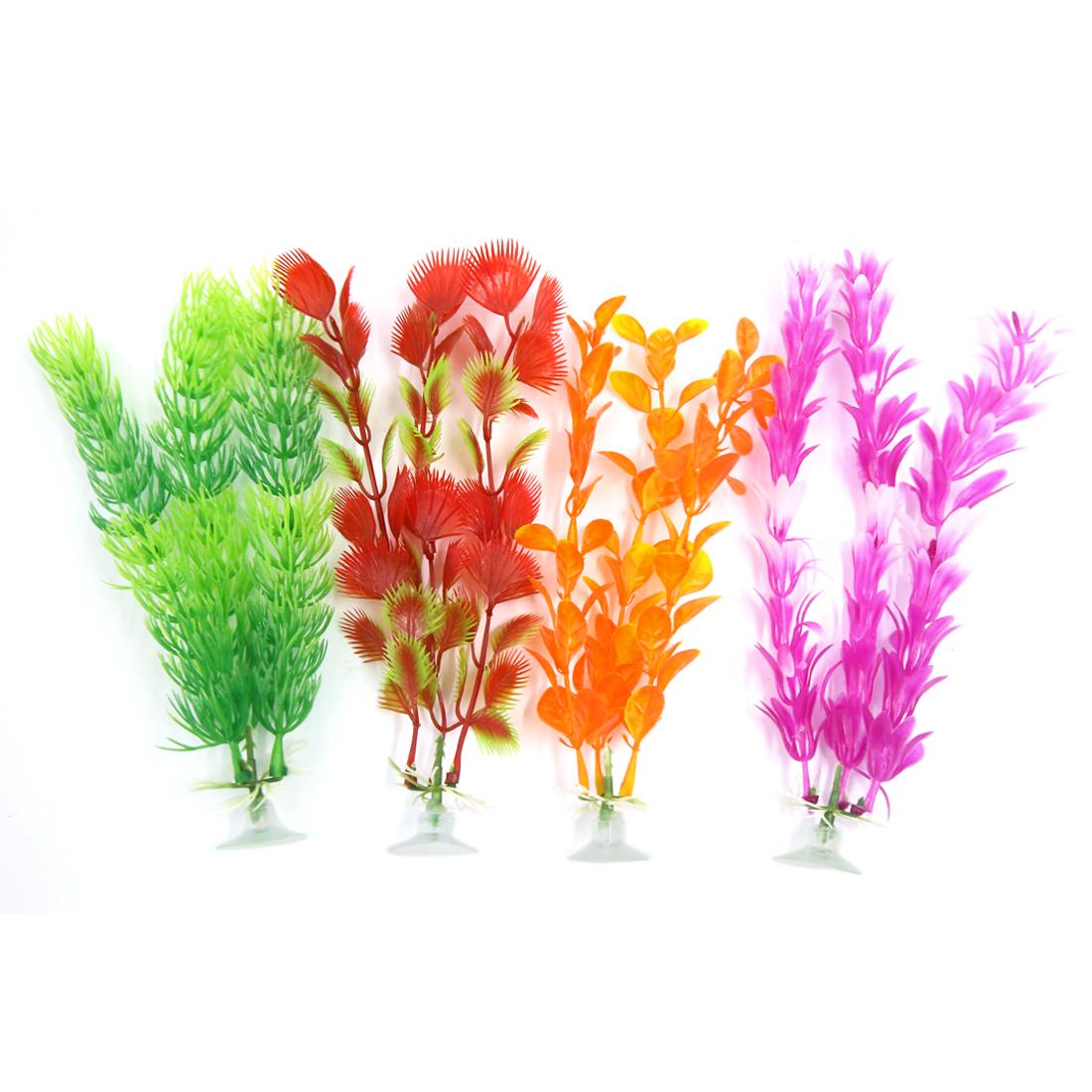 4 Pcs Aquarium Fish Ornament Plastic Decoration Plant With Suction Cup