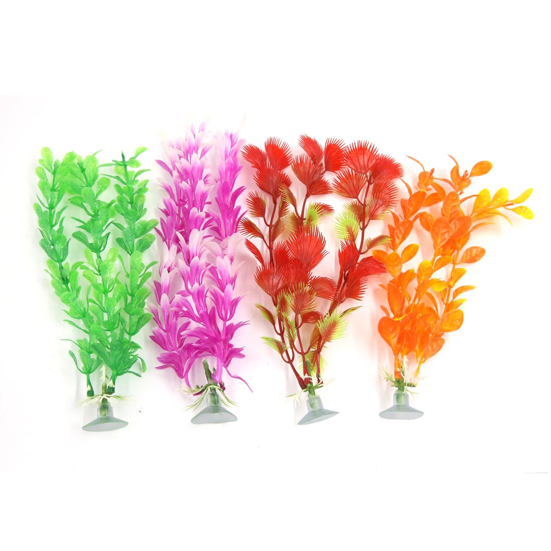 4 Pcs Plastic Aquarium Ornament Deco Plants With Suction Cup