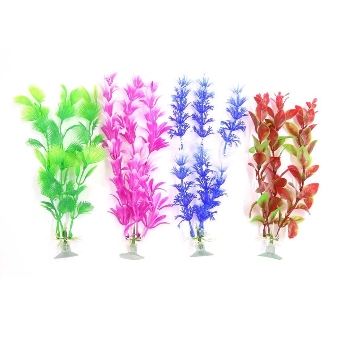 4 Pcs Aquarium Plastic Decoration Ornament Plant With Suction Cup