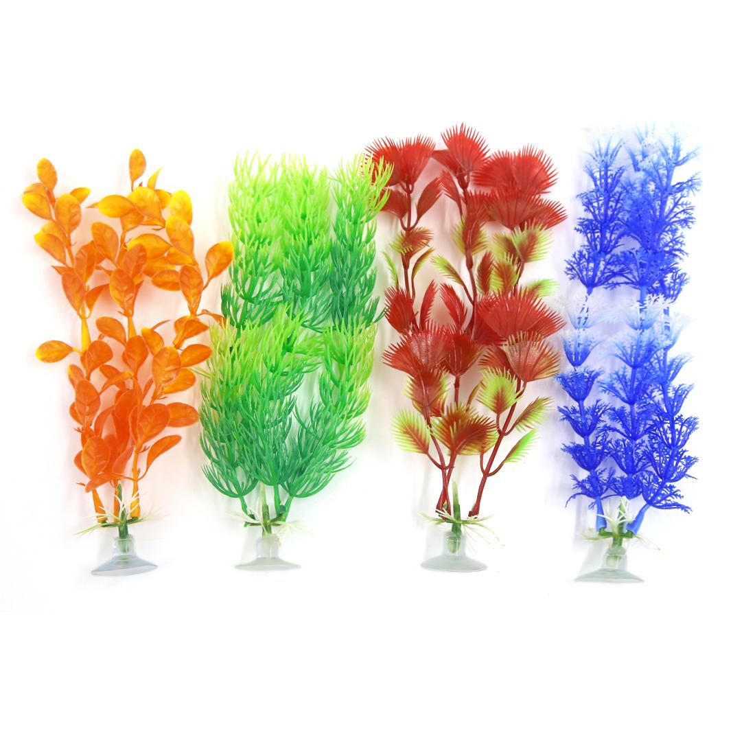 4 Pcs Aqua Plastic Decoration Ornament Plant With Suction Cup