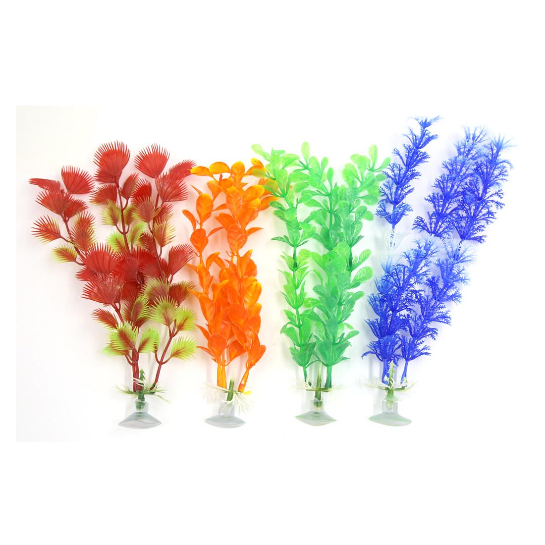 4 Pcs Aquarium Ornament Plastic Decoration Plant With Suction Cup For Fish Tank