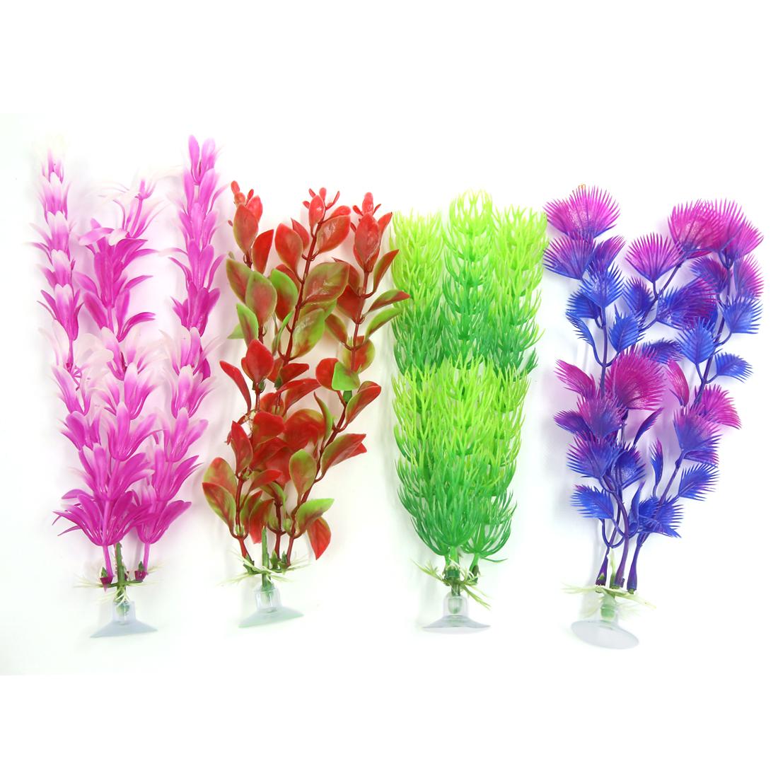 Tank Aquarium Ornament Plastic Decoration Plants With Suction Cup 4 Pcs