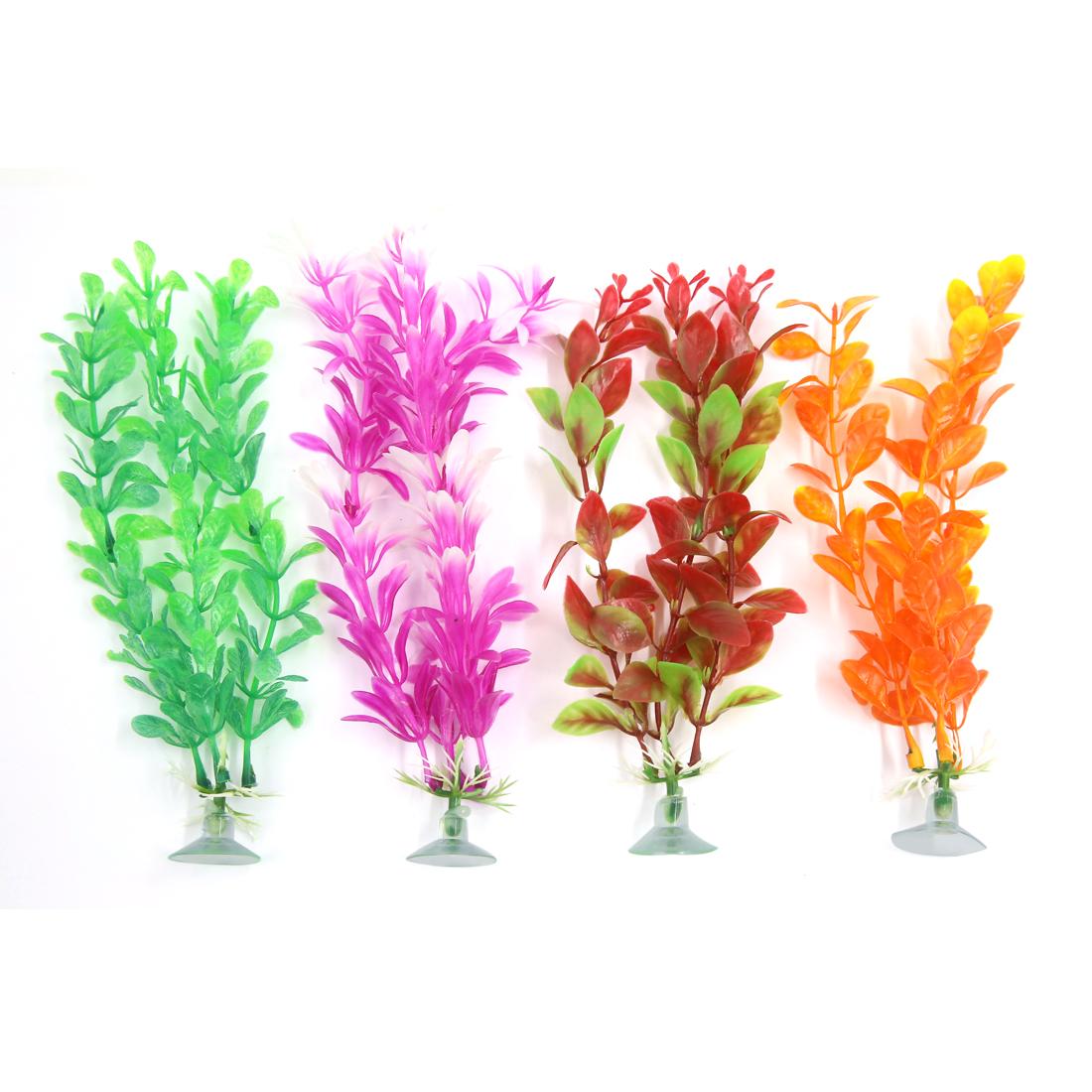 4 Pcs Ornament Plastic Decoration Plant With Suction Cup For Aquarium