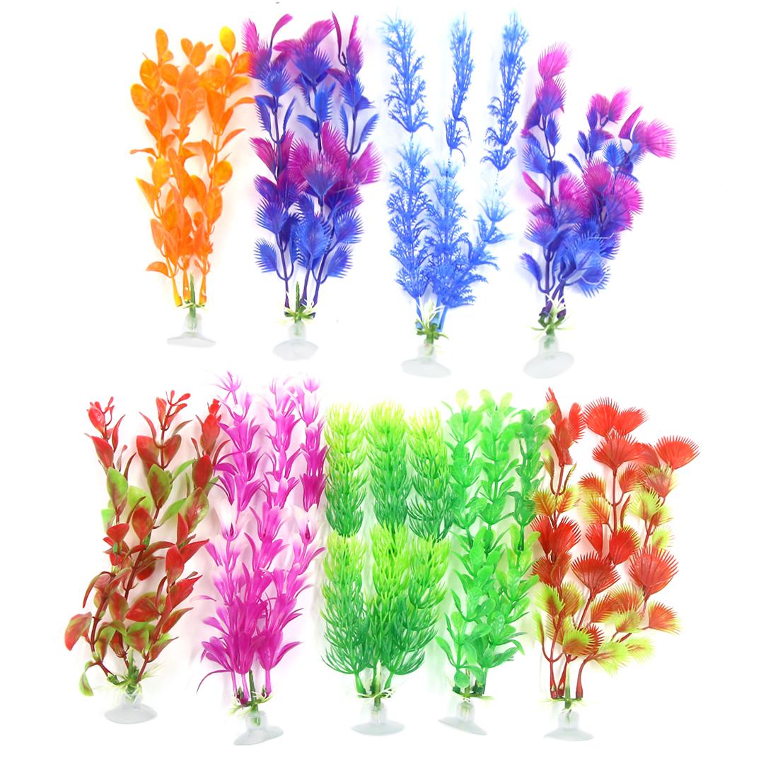 9 Pcs Aquarium Ornament Plastic Decoration Plant With Suction Cup