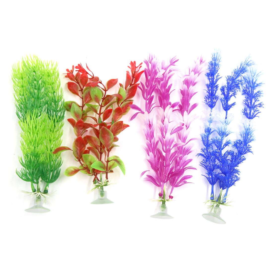 4 Pcs Aqua Ornament Deco Plastic Plants With Suction Cup For Tank