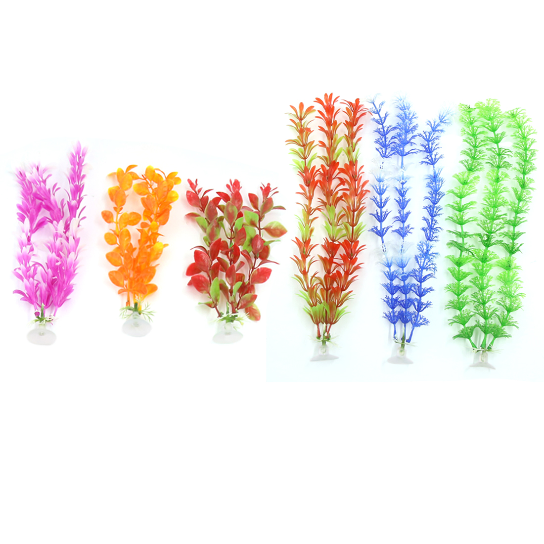 6 Pcs Aqua Plastic Decoration Ornament Plant With Suction Cup