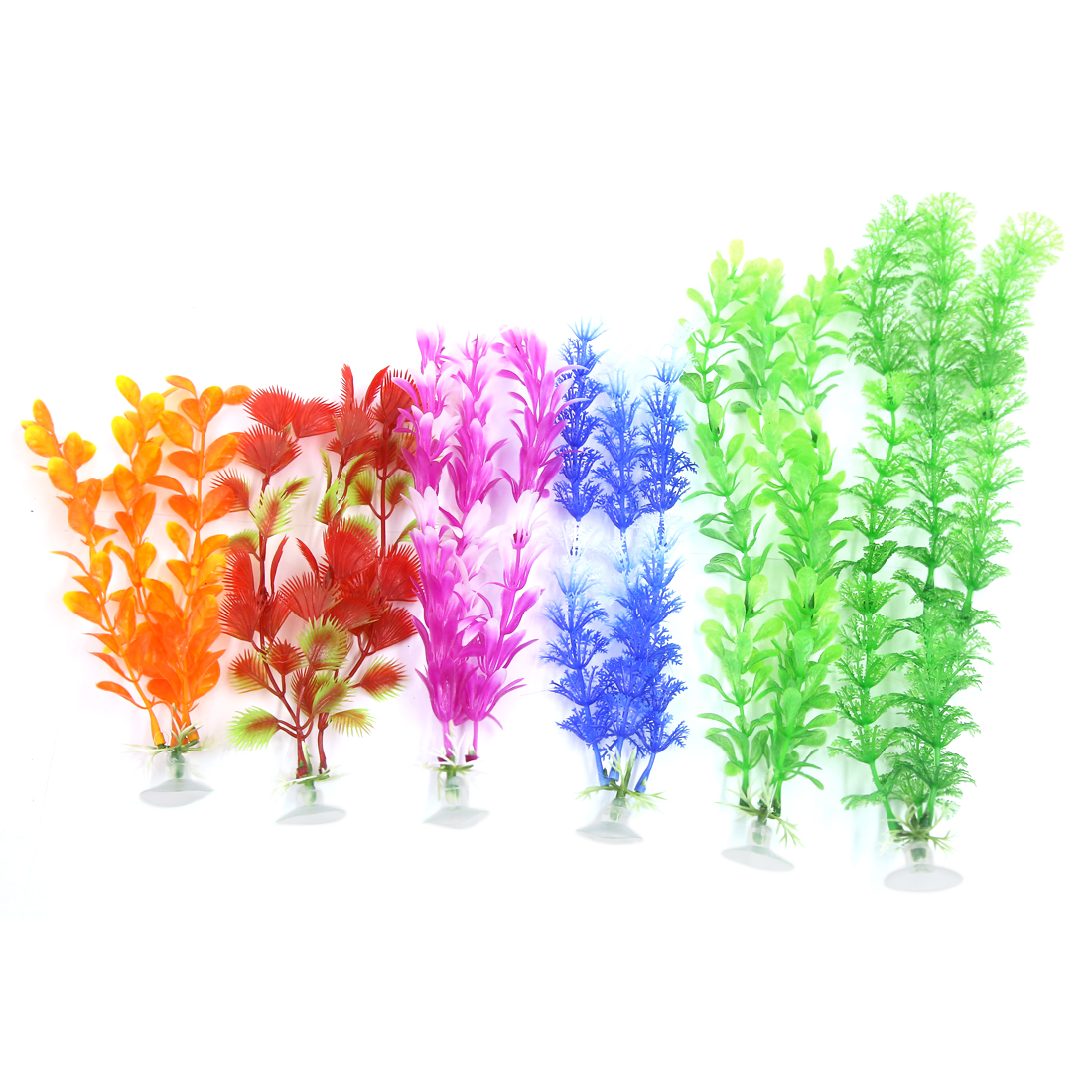 6 Pcs Aquarium Ornament Plastic Decoration Plants