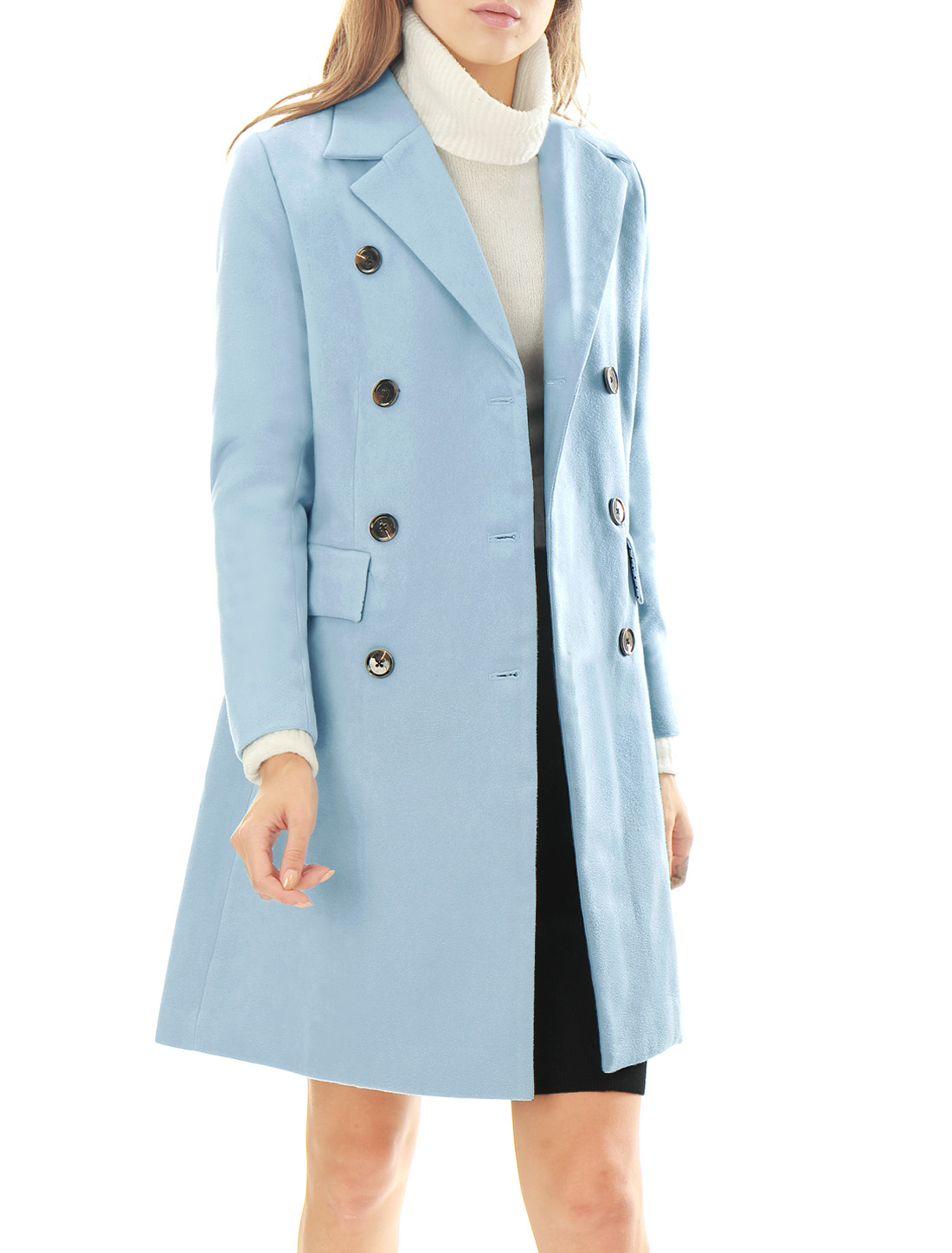 Women Notched Lapel Double Breasted Trench Worsted Coat Blue XS