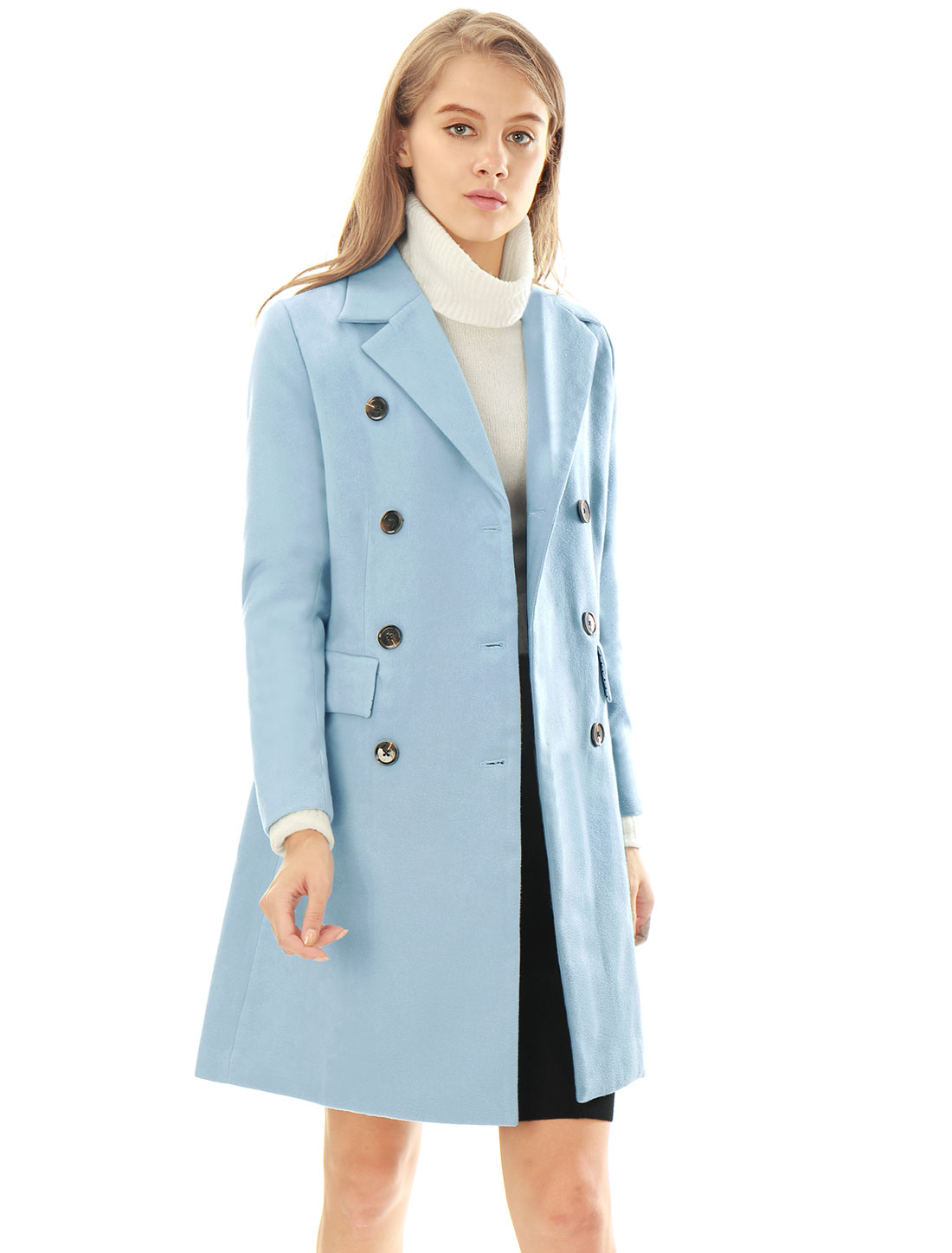 Women Notched Lapel Double Breasted Trench Worsted Coat Blue L