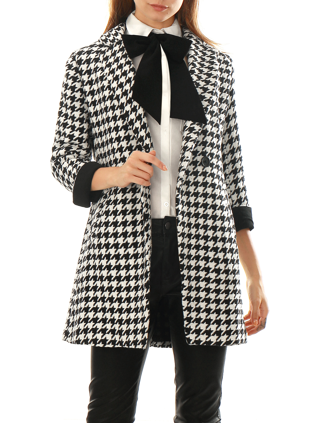 Women Houndstooth Pattern Double Breasted Worsted Coat Black L