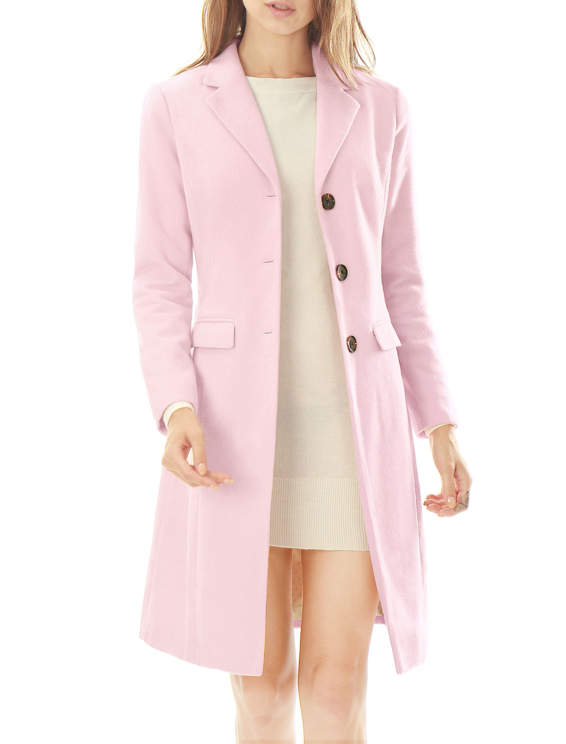 Women Notched Lapel Button Closure Worsted Long Coat Light Pink M