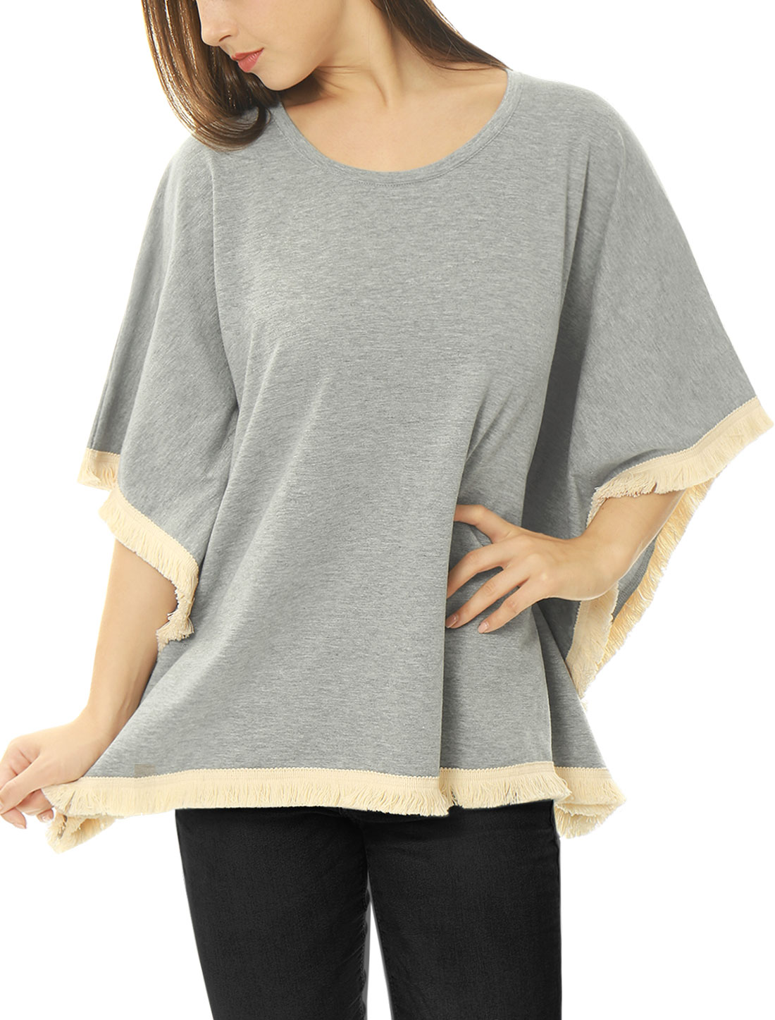 Women Batwing Sleeves Contrast Fringe Oversized Poncho Gray L