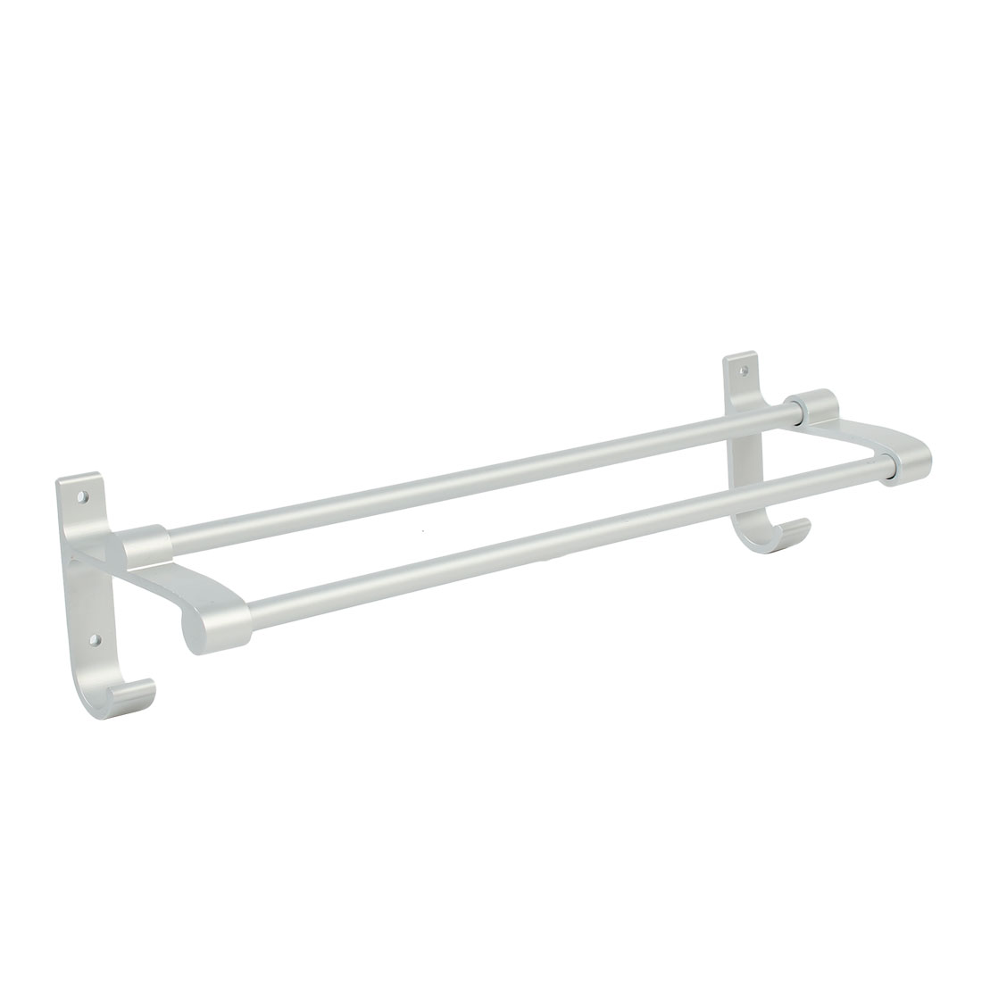 Hotel Home Bathroom Alumimum Wall Mount Double Bar Towel Rack Hanger 40cm Length