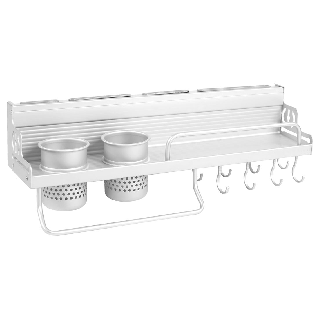 Home Kitchen Alumimum Wall Mounted Ladle Chopsticks Spice Rack Hanger 50cm Length
