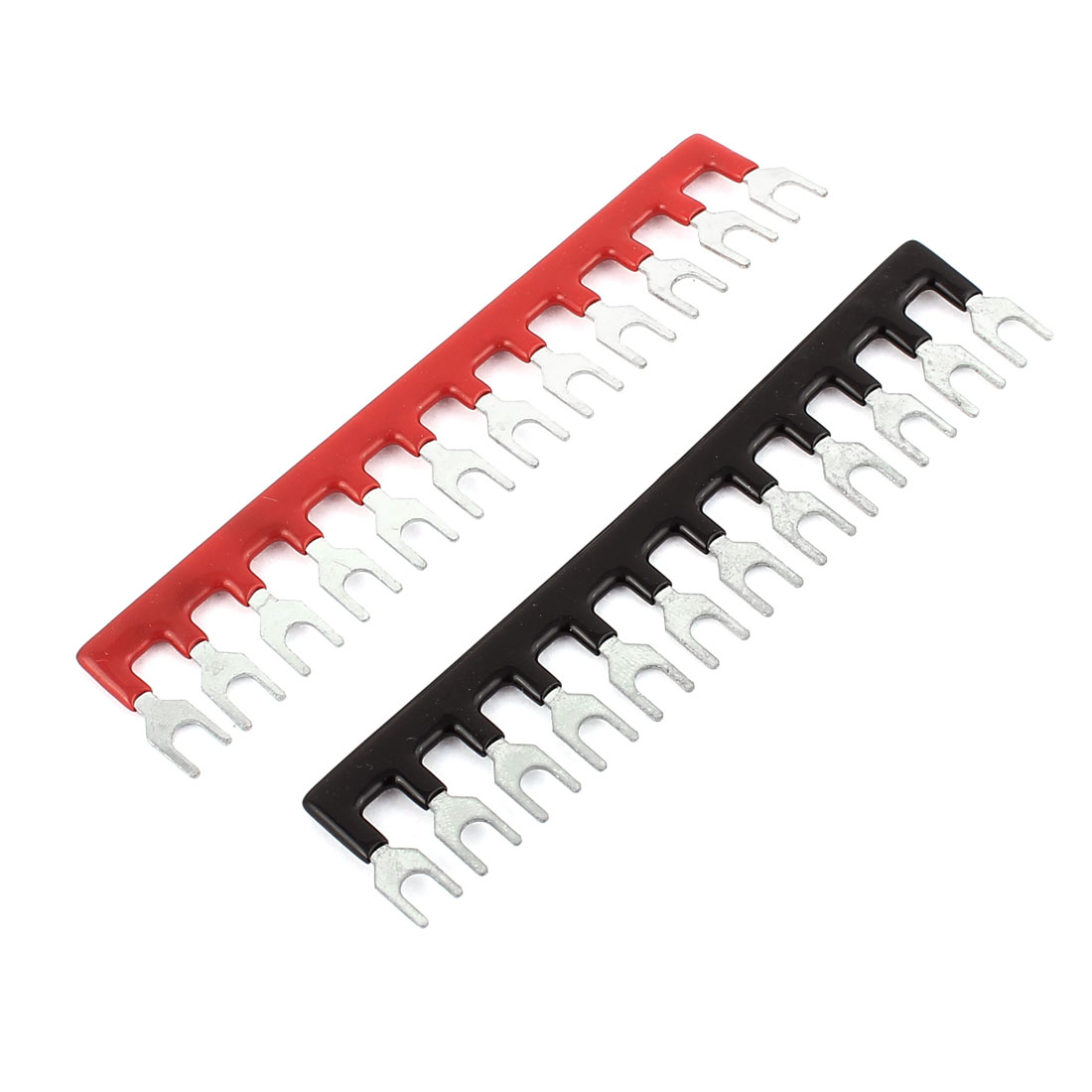 2 Pcs 12 Postions Pre Insulated H65 Fork Type Barrier Spades Terminal Stripe
