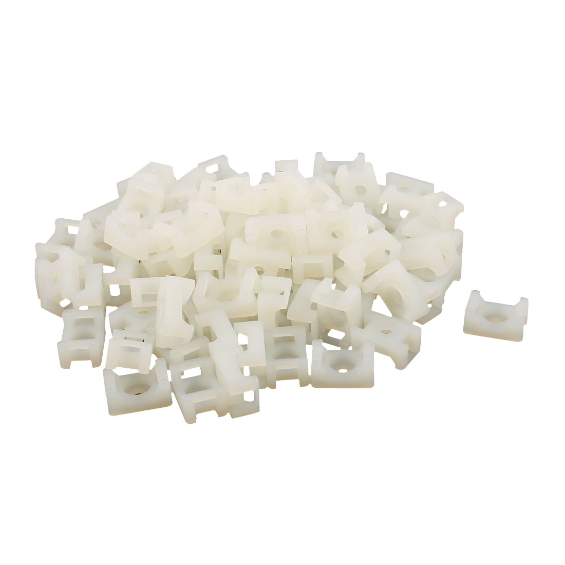 15 x 10mm Cable Tie Mount Wire Saddle Type Plastic Holder 80 Pcs White