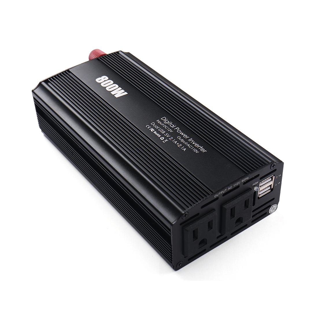 800W Car Power Inverter 2 AC Outlets 12V DC to 110V AC DUAL 2.1A USB Charging Ports