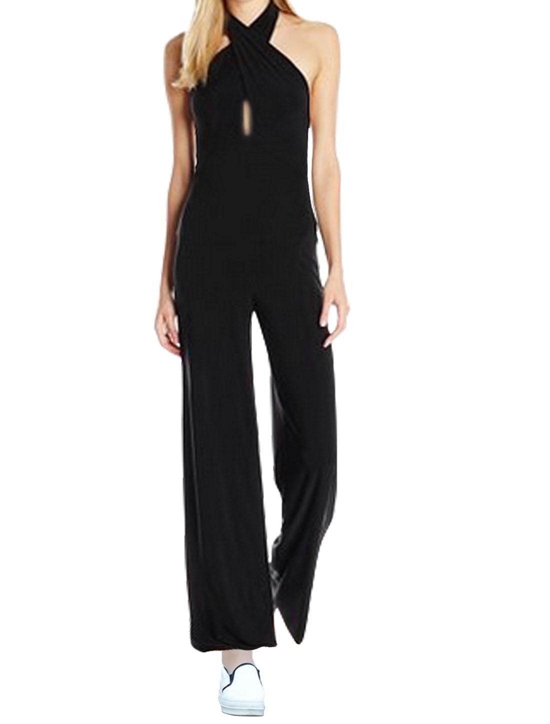 Women Halter Neckline Open Back Wide Leg Jumpsuit Black XL