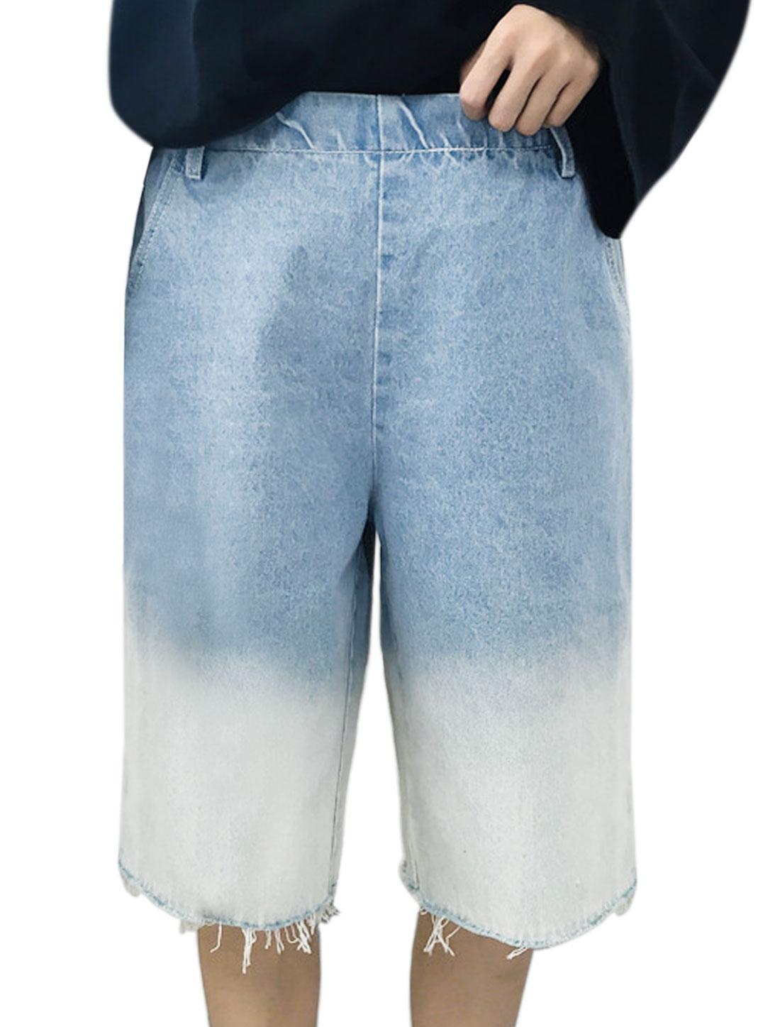 Women Dip Dye Elastic Waist Frayed Denim Culottes Blue XS