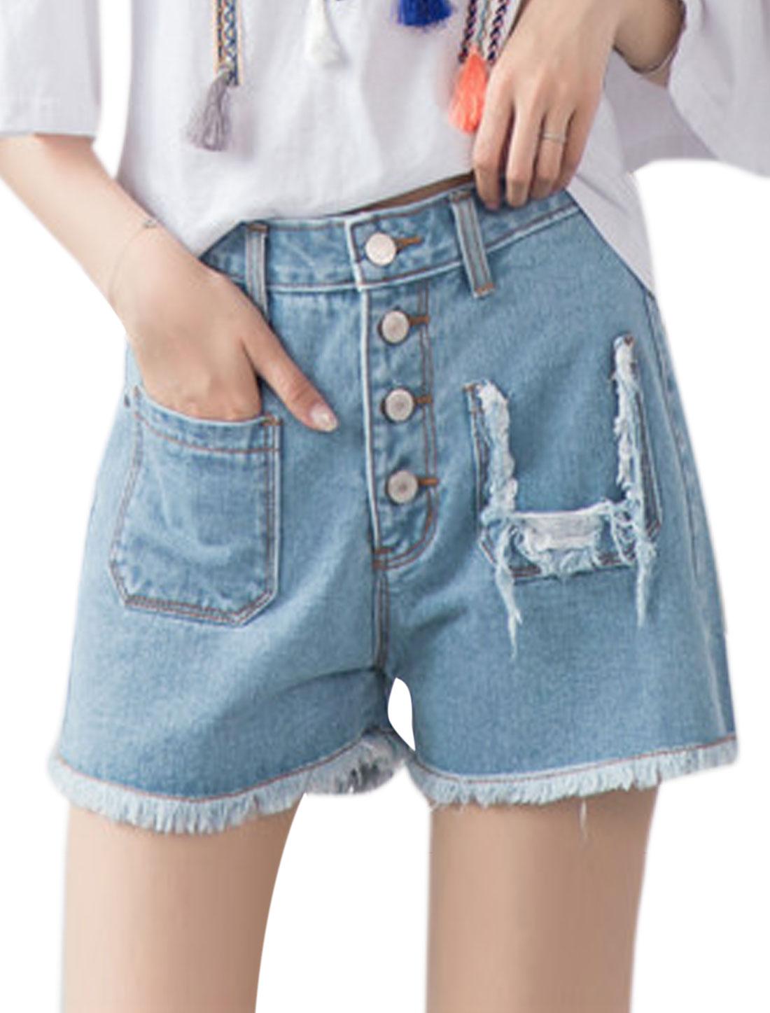 Women High Waist Frayed Hem Button Closed Denim Shorts Blue M