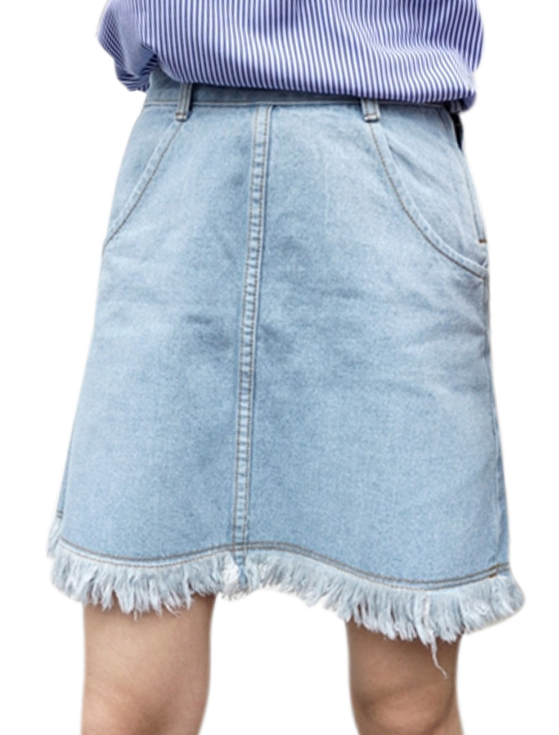 Women Pockets Front Frayed Hem Zip Up Side Denim A-Line Skirt Baby Blue M