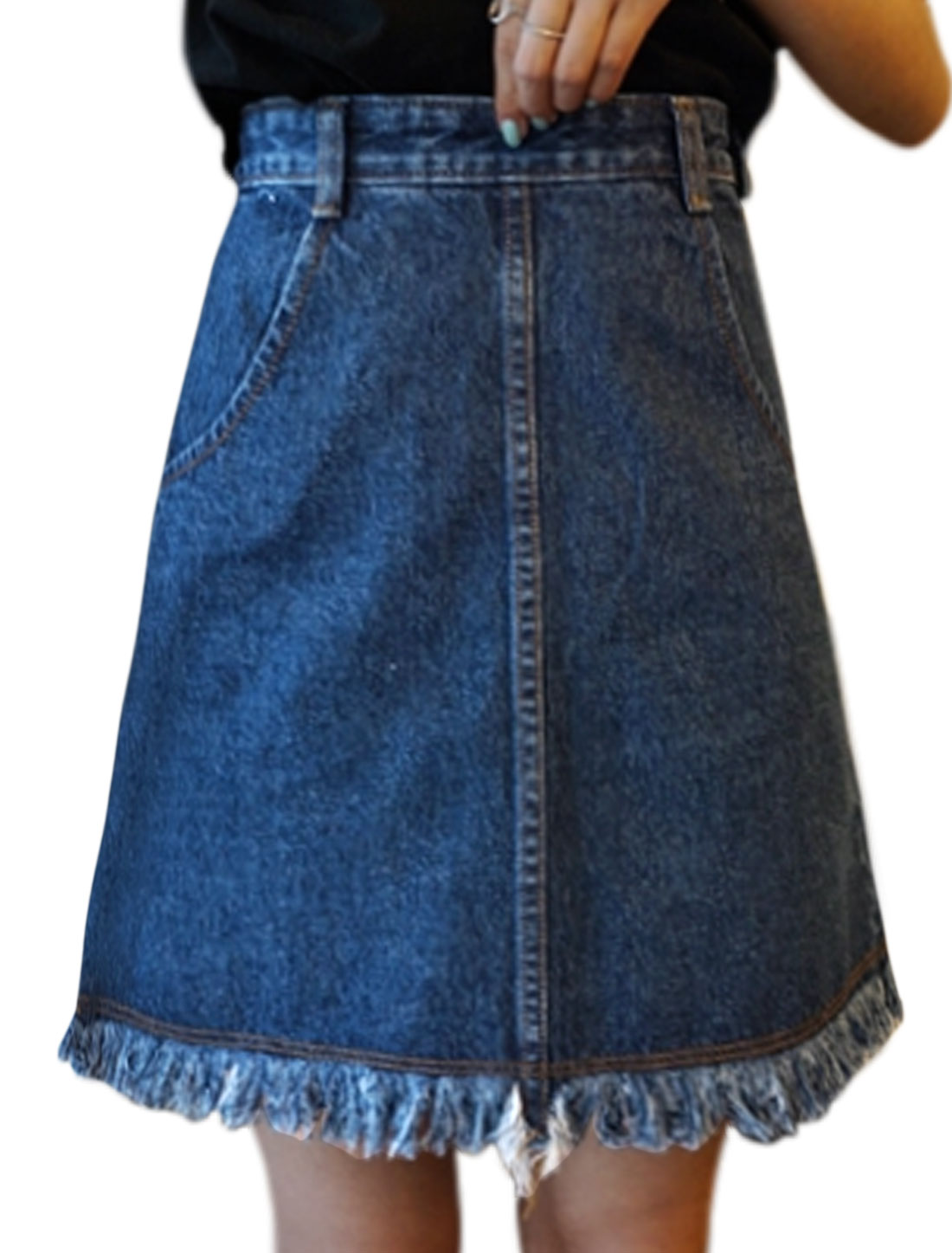 Women Pockets Front Frayed Hem Zip Up Side Denim A-Line Skirt Blue M