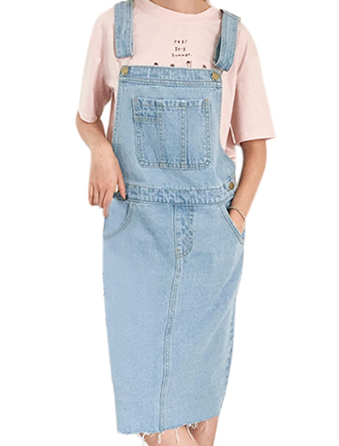 Women Mid Calf Frayed Pockes Denim Suspender Dress Blue S