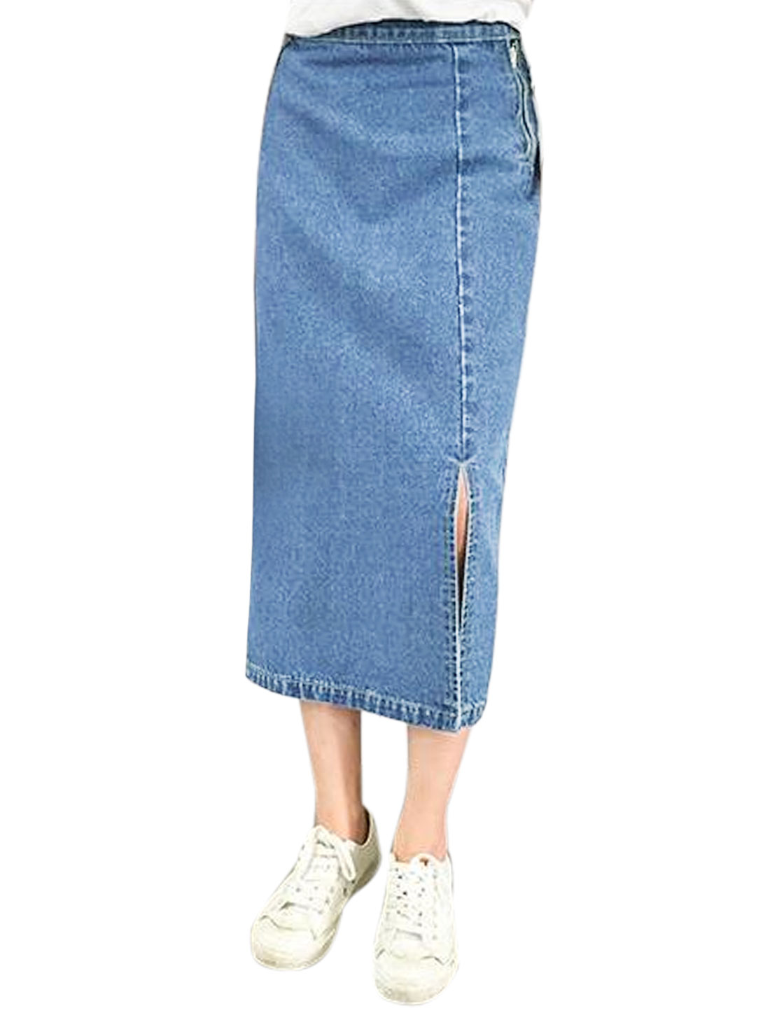 Women Zip Fly Split Sides High Waist Denim Skirt Blue S