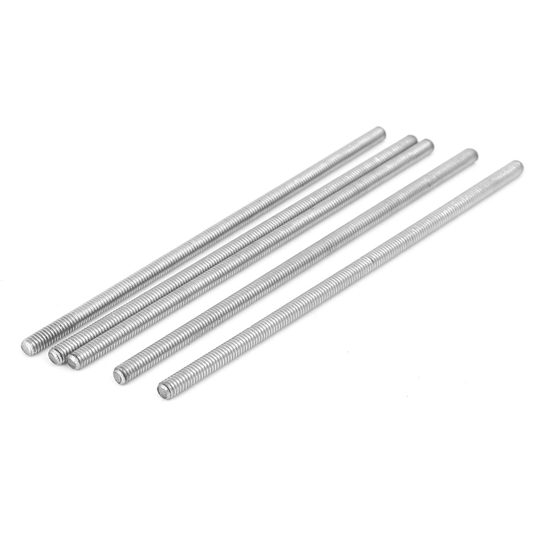 M4 x 100mm 304 Stainless Steel Fully Threaded Rod Bar Studs Silver Tone 5 Pcs