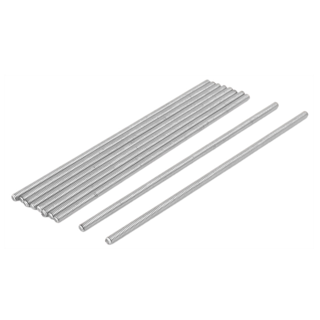 M4 x 130mm 0.7mm Pitch 304 Stainless Steel Fully Threaded Rod Bar Studs 10 Pcs