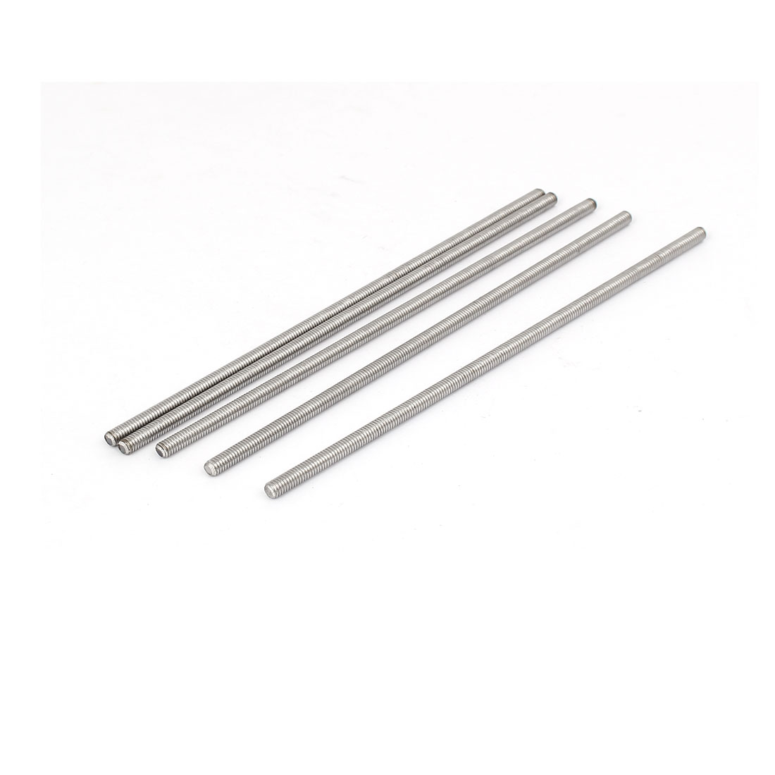 M4 x 140mm 304 Stainless Steel Fully Threaded Rod Bar Studs Silver Tone 5 Pcs