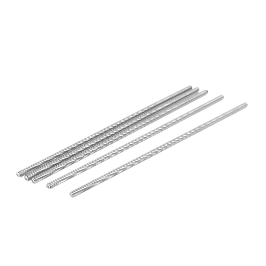 M4 x 150mm 304 Stainless Steel Fully Threaded Rod Bar Studs Silver Tone 5 Pcs