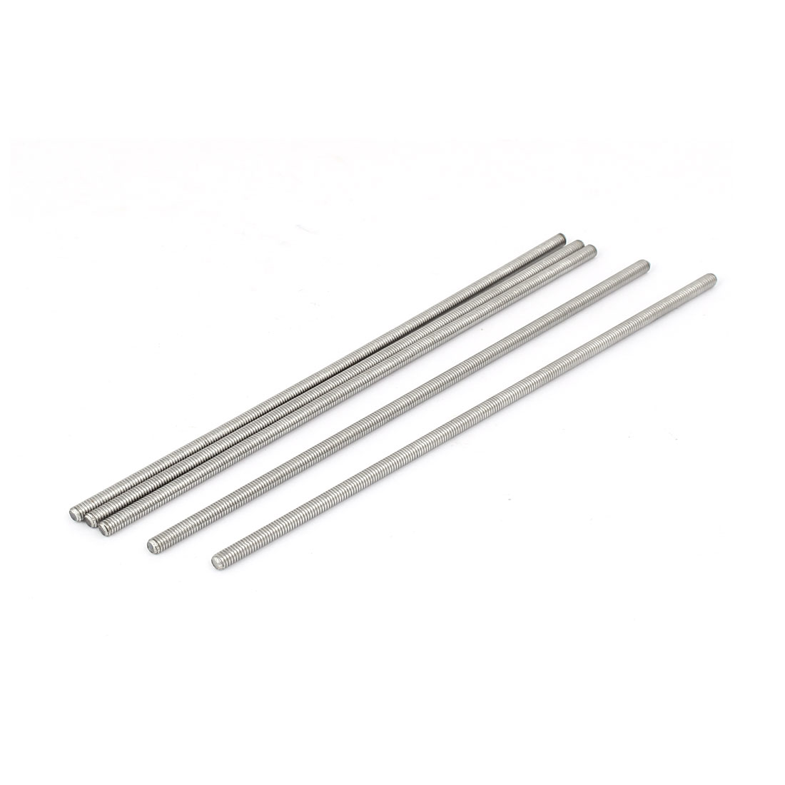 M4 x 160mm 0.7mm Pitch 304 Stainless Steel Fully Threaded Rod Bars 5 Pcs