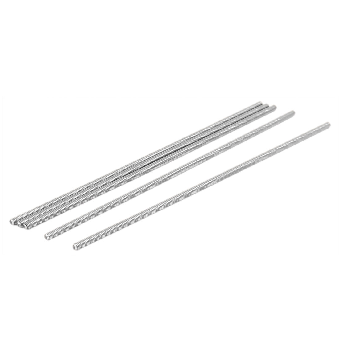 M4 x 170mm 304 Stainless Steel Fully Threaded Rod Bar Studs Silver Tone 5 Pcs