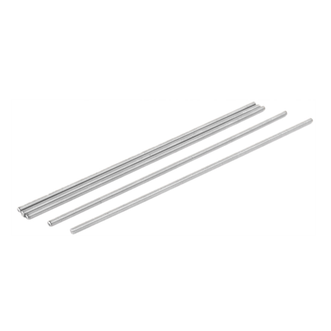 M4 x 180mm 0.7mm Pitch 304 Stainless Steel Fully Threaded Rods Silver Tone 5 Pcs