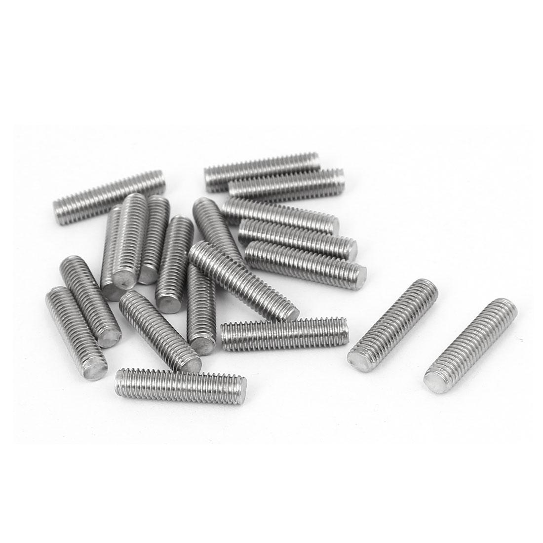 M5 x 20mm 304 Stainless Steel Fully Threaded Rod Bar Studs Fastener 20 Pcs