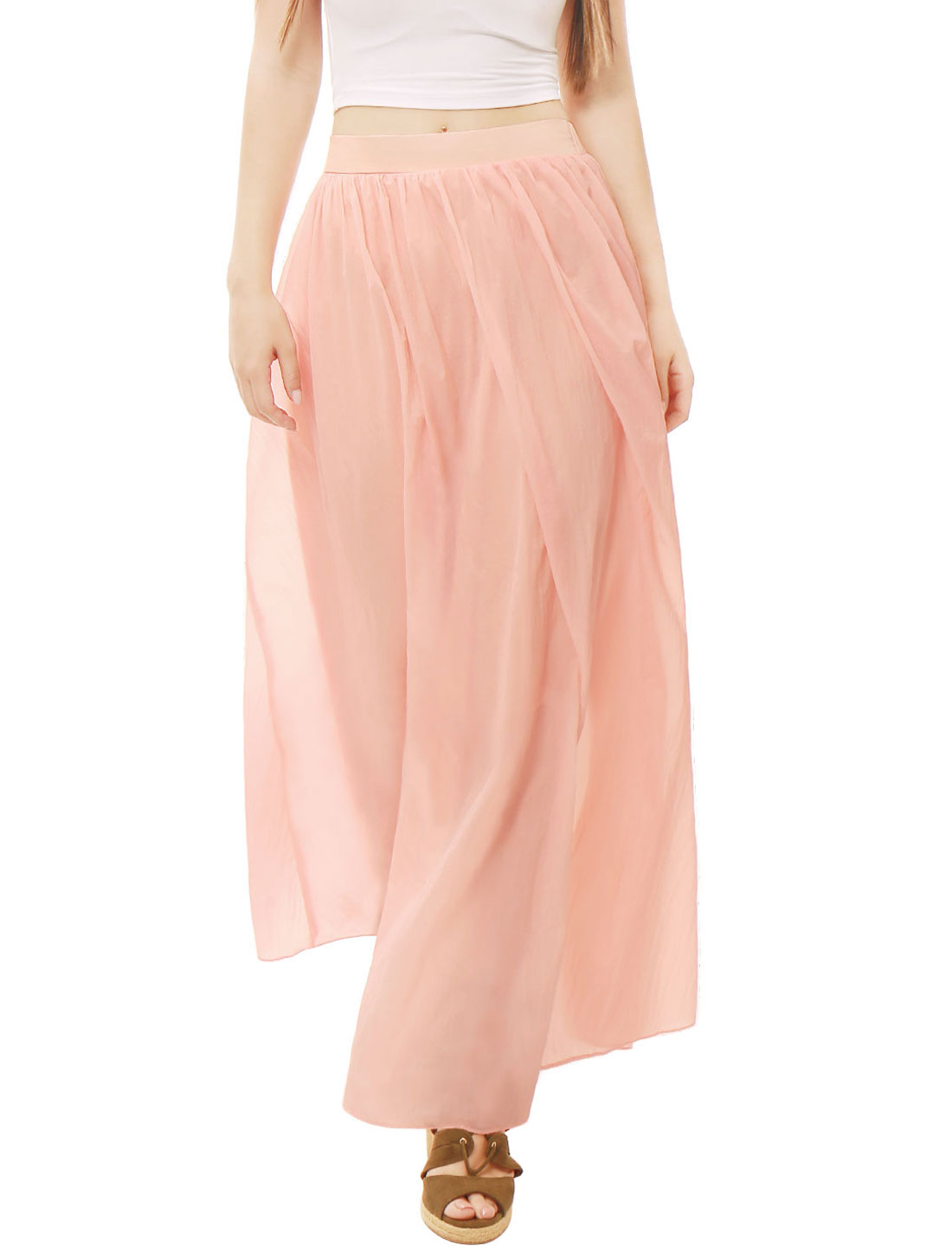 Women Pleated Elastic Waist Flowy Boho Maxi Skirt Pink S